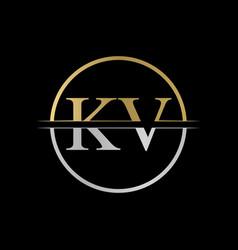 initial kv letter logo design abstract letter kv vector image
