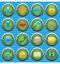 Internet web glossy icons set vector