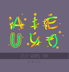 Jelly worms cartoon font vowels colorful vector