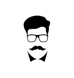 man with mustache wearing a glasses people icon vector image