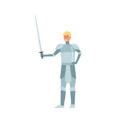 medieval young man knight blond from a fairy tale vector image