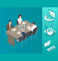 meeting seminar people table vector image