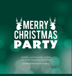 merry christmas party glowing green background vector image