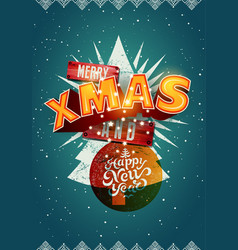 merry xmas and happy new year christmas card vector image