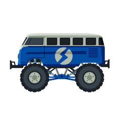 Monster truck vehicle heavy blue van with large vector