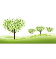 nature background with stylized trees vector image