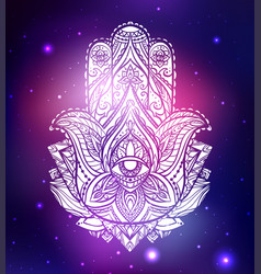 Neon of hamsa with boho vector