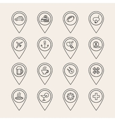 outline pin icons vector image