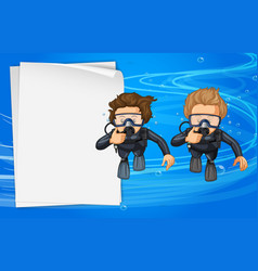 Paper template with two scuba divers vector