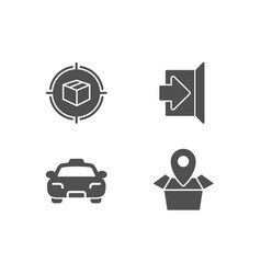 Parcel tracking exit and taxi icons package vector