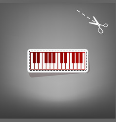 piano keyboard sign red icon with vector image