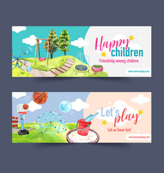 Playground banner design with jungle gym vector