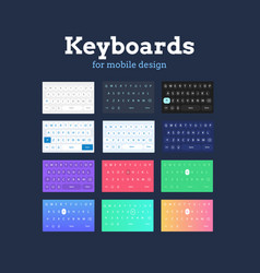 qwerty mobile keyboards in different colors vector image