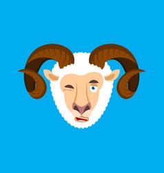 ram winking face avatar sheep farm animal happy vector image