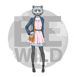 retro hipster fashion animal bear woman model vector image