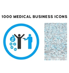 Robbery Rounded Icon With Medical Bonus vector image