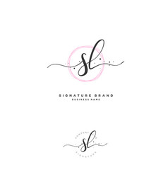 S l sl initial letter handwriting and signature vector