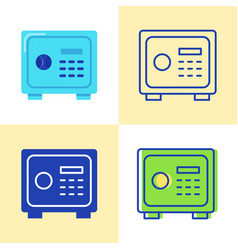 safe box icon set in flat and line style vector image