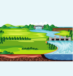 Scene with water running down from dam vector