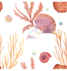 Sea shell marine life pattern seamless travel vector