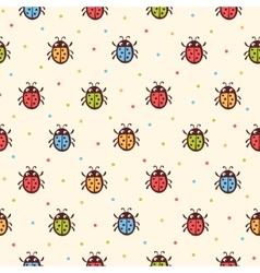Seamless childish ladybugs pattern vector image