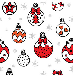 seamless pattern christmas balls and snowflakes vector image