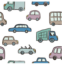 seamless pattern of hand drawn cute cartoon cars vector image