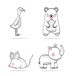 set adorable wild animal character vector image