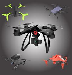 Set of cartoon drones isometric vector