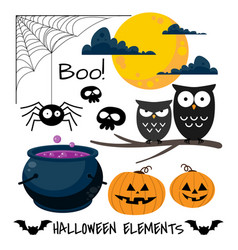 set of halloween elements and symbols vector image