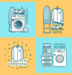 Set of laundry labels logos in modern vector