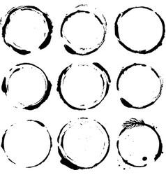 set of nine grunge round shapes vector image