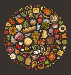 Set russian food cartoon doodle objects vector