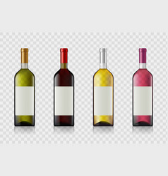 set wine bottles with blank labels vector image