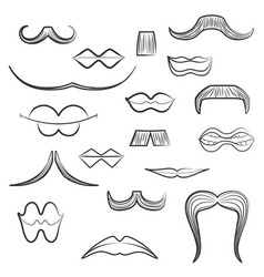 Set with diverse mens moustaches and women lips vector