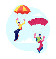 skydiver characters jumping with parachute soaring vector image