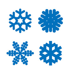 snowflake icons set blue silhouette snow flake vector image