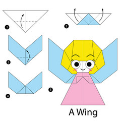 Step instructions how to make origami a wing vector