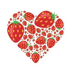 Strawberries in heart vector