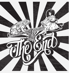 The end handwritten lettering hand drawn of ugly vector