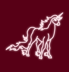 The outline of the unicorn neon lighte vector