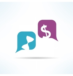 time is money conversation with speech vector image vector image