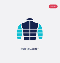 Two color puffer jacket icon from clothes concept vector