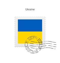 Ukraine flag postage stamp vector
