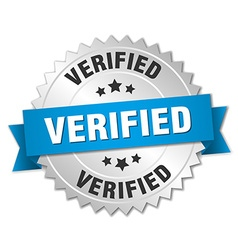 Verified 3d silver badge with blue ribbon vector