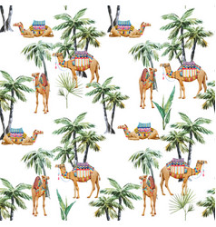 watercolor camel and palm pattern vector image