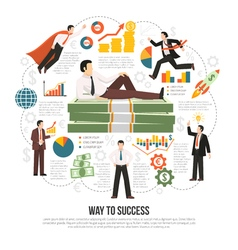 Way To Success Flat Infographic Poster vector