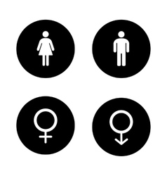 Wc entrance black icons set vector image