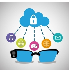 Wearable technology glasses cloud security media vector