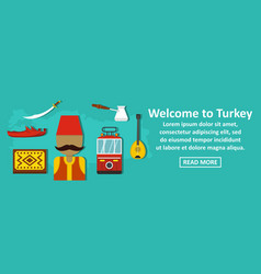 welcome to turkey banner horizontal concept vector image